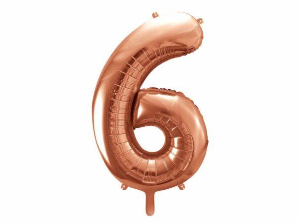balon cyfra 6 golden rose, różowo złote balony urodzinowe cyfry, balon cyfra foliowa 6, balony na imprezy, dekoracje różowe złoto na imprezę, 86 cm,