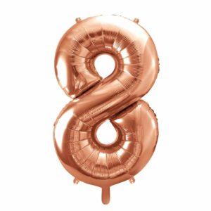 balon cyfra 8 różowe złoto, balon cyfra foliowa 8, dekoracje na imprezę golden rose, balony urodzinowe cyfry złoty róż, 86 cm, balony na imprezy,