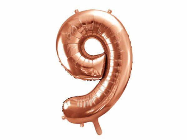 balon cyfra 9 różowe złoto, balony urodzinowe cyfry złoty róż, dekoracje na imprezę golden rose, balon cyfra foliowa 9, 86 cm, balony na imprezy,
