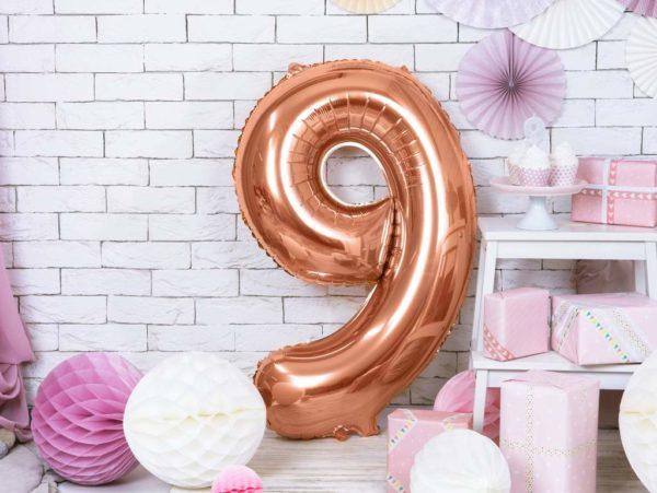 balon cyfra 9 różowe złoto, dekoracje na imprezę golden rose, balony urodzinowe cyfry złoty róż, balon cyfra foliowa 9, 86 cm, balony na imprezy,