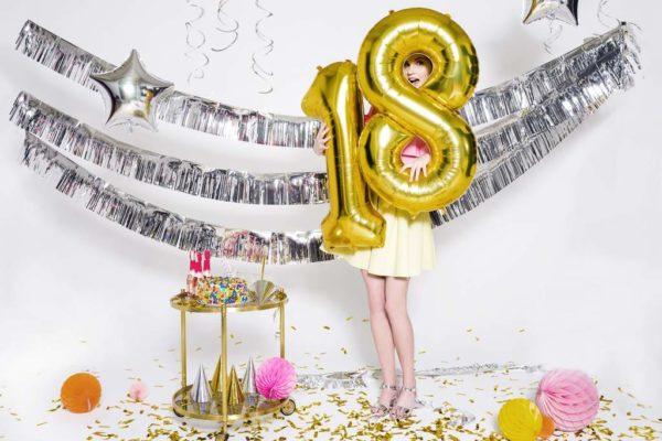balon cyfra foliowa 18, złoty balon cyfra 18, złote balony urodzinowe cyfry, dekoracje złote na imprezę, balony na imprezy, 86 cm,