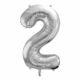 balon cyfra foliowa 2, srebrny balon cyfra 86 cm, balony urodzinowe cyfry
