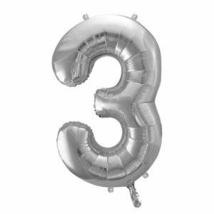 balon cyfra foliowa 3, dekoracje srebrne na imprezę, srebrne balony urodzinowe cyfry, srebrny balon cyfra 3, 86 cm, balony na imprezy,