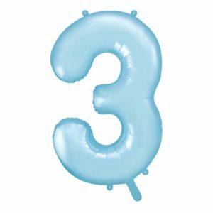 balon cyfra foliowa 3, niebieski balon cyfra 3, błękitne dekoracje na imprezę, niebieskie i błękitne balony urodzinowe cyfry, balony na imprezy, 86 cm,