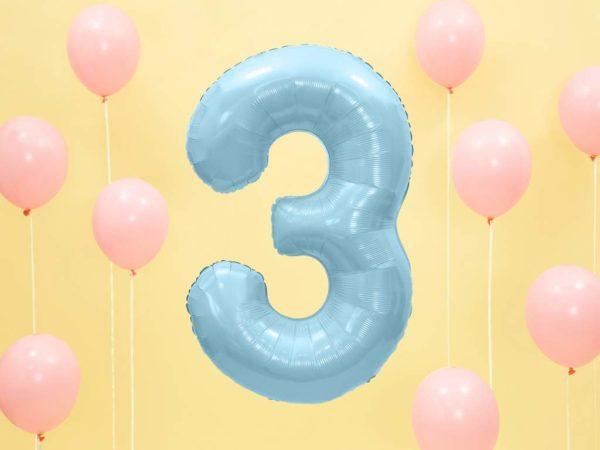 balon cyfra foliowa 3, niebieski balon cyfra 3, dekoracje błękitne na imprezę, niebieskie i błękitne balony urodzinowe cyfry, balony na imprezy, 86 cm,