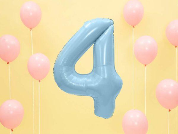 balon cyfra foliowa 4, dekoracje błękitne na imprezę, niebieski balon cyfra 4, niebieskie i błękitne balony urodzinowe cyfry, balony na imprezy, 86 cm,
