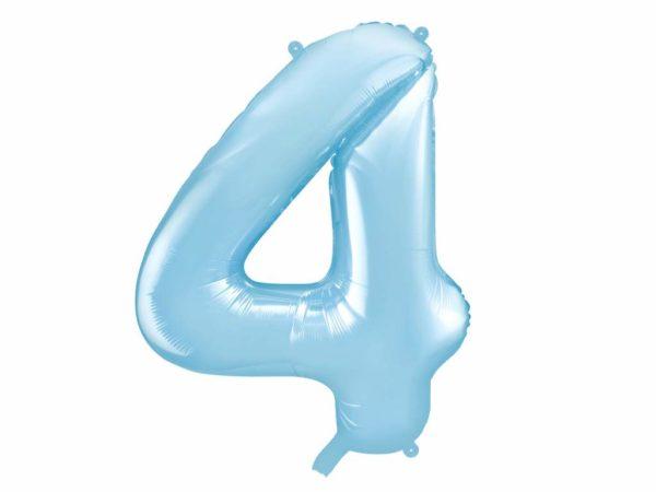 balon cyfra foliowa 4, niebieski balon cyfra 4, dekoracje błękitne na imprezę, niebieskie i błękitne balony urodzinowe cyfry, balony na imprezy, 86 cm,