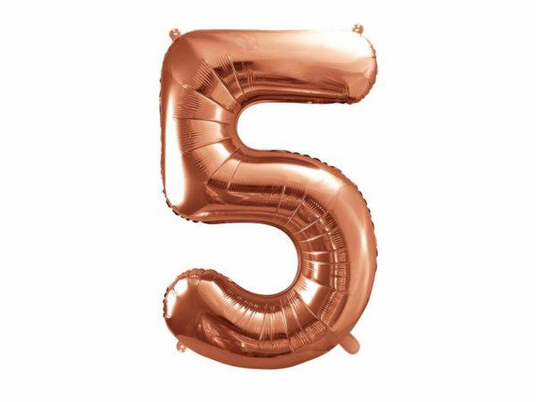 balon cyfra foliowa 5, balony na imprezy, balon cyfra 5 golden rose, dekoracje różowe złoto na imprezę, różowo złote balony urodzinowe cyfry, 86 cm,
