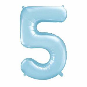 balon cyfra foliowa 5, dekoracje błękitne na imprezę, niebieski balon cyfra 5, niebieskie i błękitne balony urodzinowe cyfry, balony na imprezy, 86 cm,