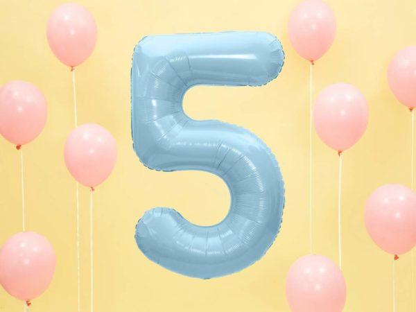 balon cyfra foliowa 5, niebieski balon cyfra 5, dekoracje błękitne na imprezę, niebieskie i błękitne balony urodzinowe cyfry, balony na imprezy, 86 cm,