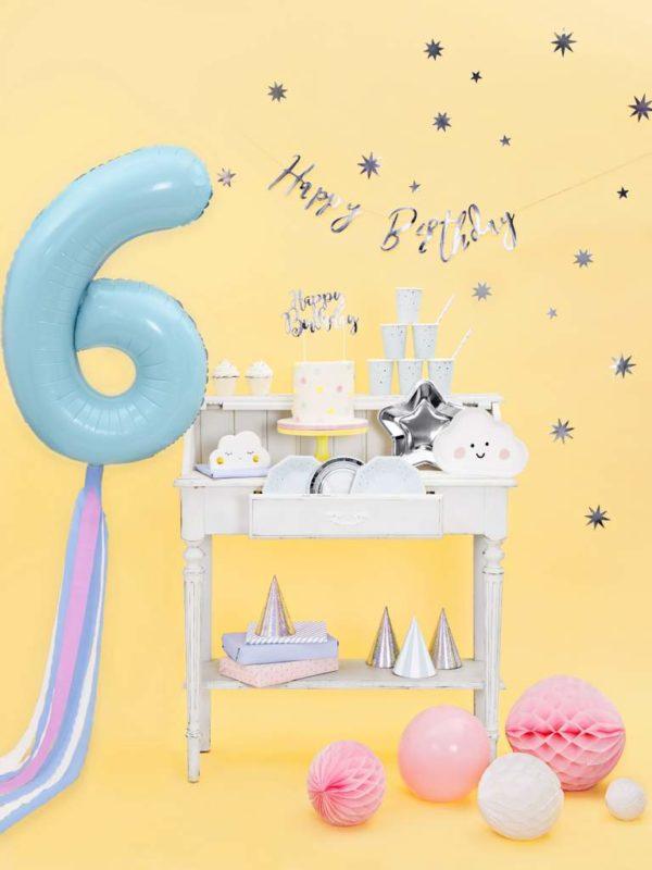balon cyfra foliowa 6, dekoracje błękitne na imprezę, niebieskie i błękitne balony urodzinowe cyfry, niebieski balon cyfra 6, balony na imprezy, 86 cm,