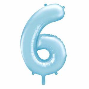 balon cyfra foliowa 6, niebieski balon cyfra 6, niebieskie i błękitne balony urodzinowe cyfry, balony na imprezy, dekoracje błękitne na imprezę, 86 cm,
