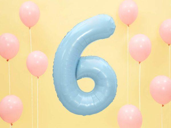 balon cyfra foliowa 6, niebieskie i błękitne balony urodzinowe cyfry, niebieski balon cyfra 6, balony na imprezy, dekoracje błękitne na imprezę, 86 cm,