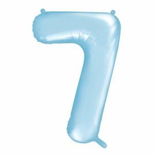 balon cyfra foliowa 7, dekoracje błękitne na imprezę, niebieskie i błękitne balony urodzinowe cyfry, niebieski balon cyfra 7, balony na imprezy, 86 cm,