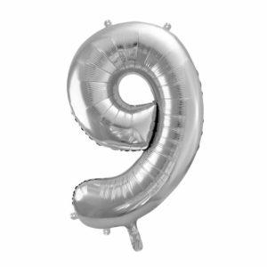 balon cyfra foliowa 9, srebrne dekoracje na imprezę, srebrny balon cyfra 9, srebrne balony urodzinowe cyfry, 86 cm, balony na imprezy,