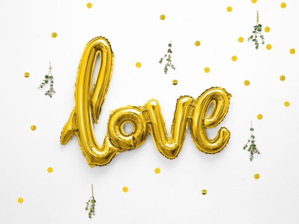 balon foliowy love złoty, balon Love złoty, złote dekoracje ślubne, złote dekoracje candy-bar