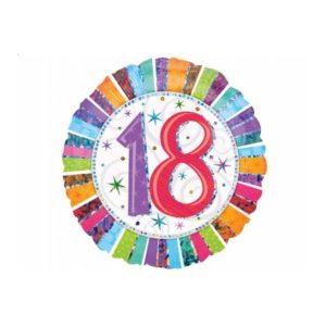 balon foliowy okrągły z cyfrą 18, dekoracje balonowe, balony urodzinowe, dekoracje na imprezę,