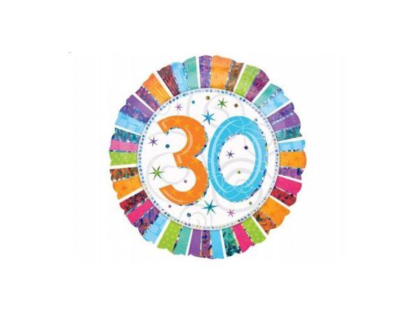 balon foliowy okrągły z cyfrą 30, dekoracje balonowe, balony urodzinowe, dekoracje na imprezę,