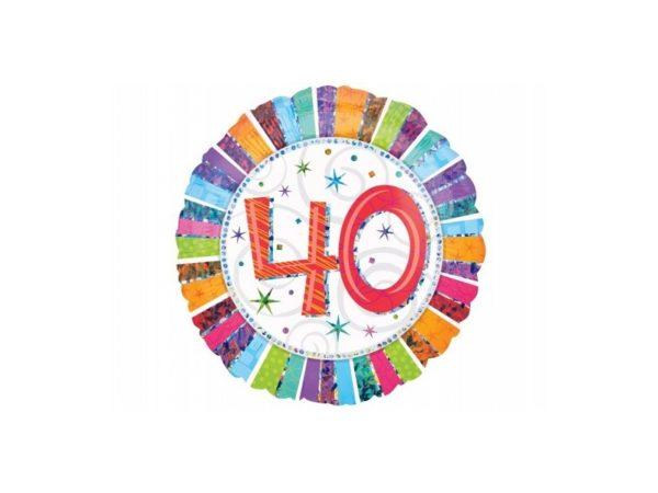 balon foliowy okrągły z cyfrą 40, dekoracje balonowe, balony urodzinowe, dekoracje na imprezę,