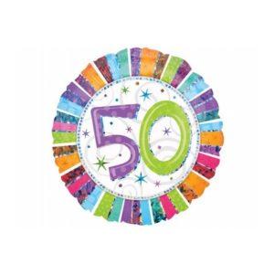 balon foliowy okrągły z cyfrą 50, dekoracje balonowe, balony urodzinowe, dekoracje na imprezę,