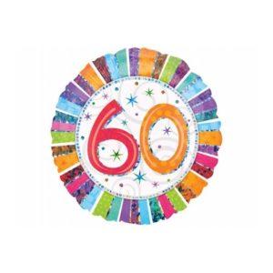 balon foliowy okrągły z cyfrą 60, dekoracje balonowe, balony urodzinowe, dekoracje na imprezę,