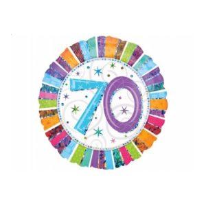 balon foliowy okrągły z cyfrą 70, dekoracje balonowe, balony urodzinowe, dekoracje na imprezę,