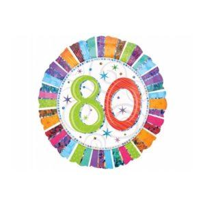 balon foliowy okrągły z cyfrą 80, dekoracje balonowe, balony urodzinowe, dekoracje na imprezę,