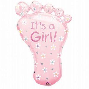 balon foliowy stópka dziecka, balon foliowy na roczek dla dziewczynki, balon na chrzest, balon na baby shower