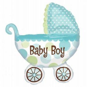 balon foliowy wózek dziecka, balon foliowy na roczek dla chłopca, balon na chrzest, balon na baby shower, balon It's a boy