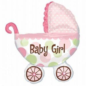 balon foliowy wózek dziecka, balon foliowy na roczek dla dziewczynki, balon na chrzest, balon na baby shower