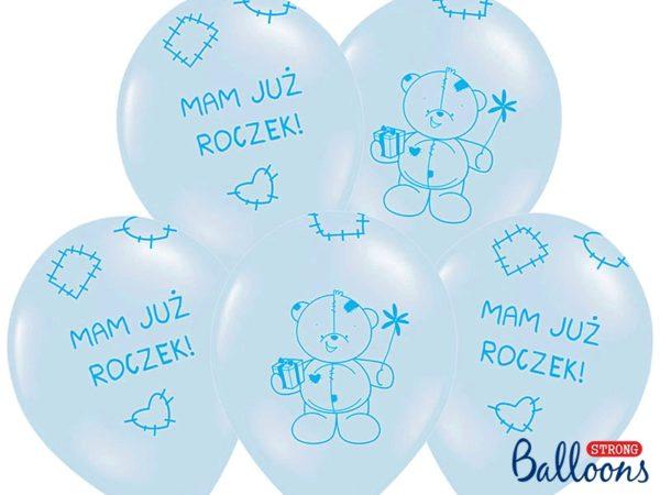 balon na roczek dla chłopca, balon niebieski z misiem