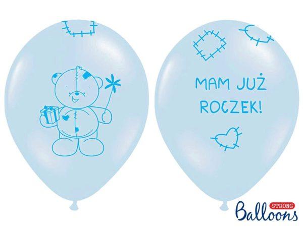 balon na roczek dla chłopca, balon niebieski z misiem, niebieskie balony na roczek