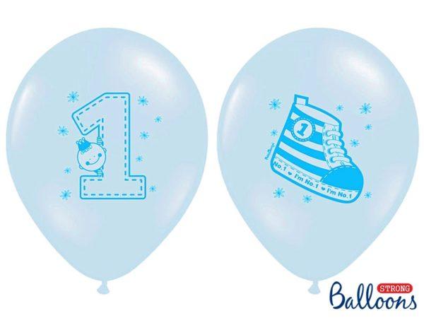 balon na roczek dla chłopca, balon niebieski z trampkiem, niebieskie balony na roczek