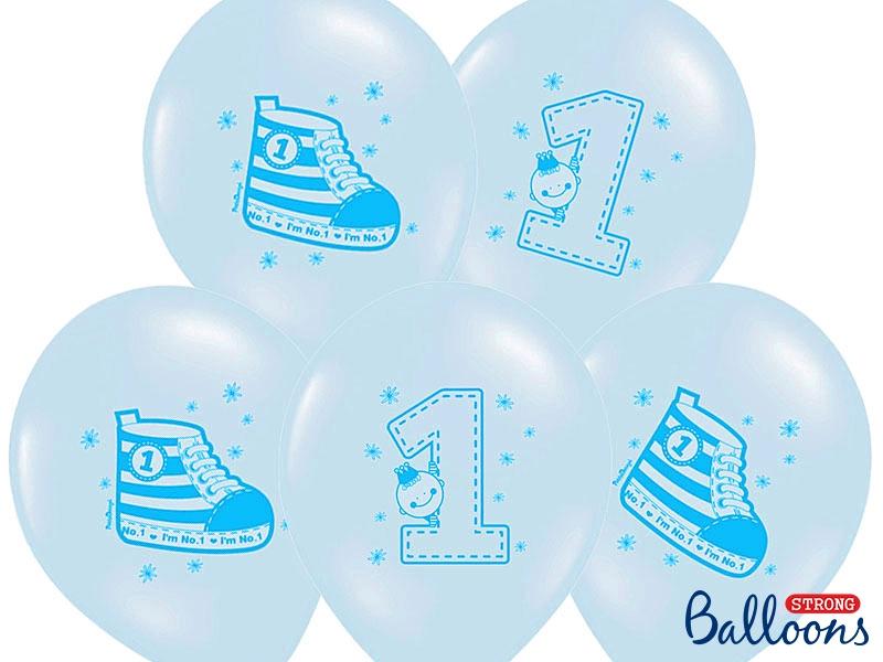 balon na roczek dla chłopca, balon niebieski z trampkiem