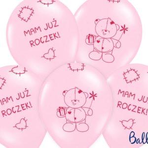 balon na roczek dla dziewczynki, balon różowy z misiem