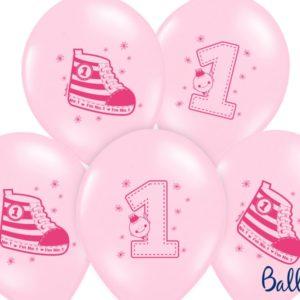 balon na roczek dla dziewczynki, balon różowy z trampkiem