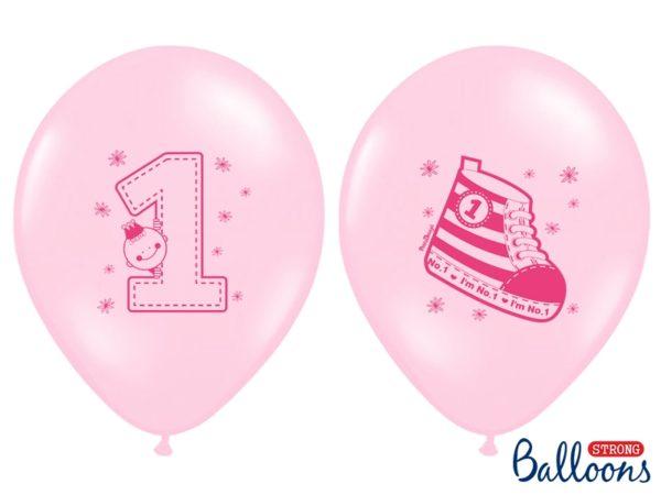 balon na roczek dla dziewczynki, balon różowy z trampkiem, balony na roczek