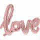 balon napis love różowe złoto, dekoracje golden rose na imprezę, balon napis foliowy love, balony ślubne napisy złoty róż, balony na imprezy,