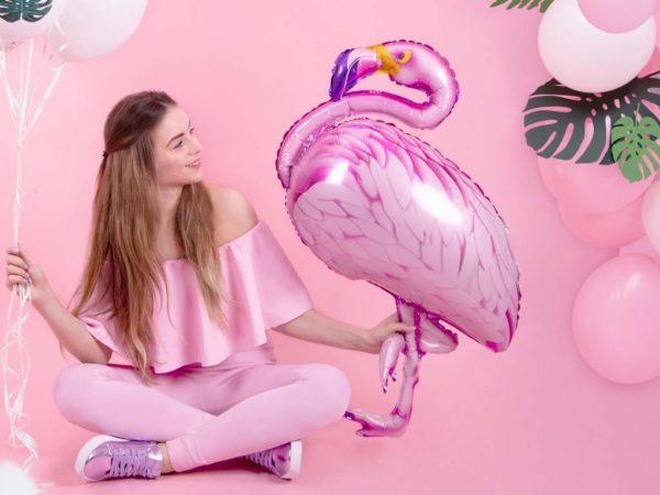 balon różowy flaming, dekoracje na egzotyczne przyjęcia, dekoracje Hawaii, egzotyczne dekoracje na imprezy, dekoracje na tropikalną imprezę