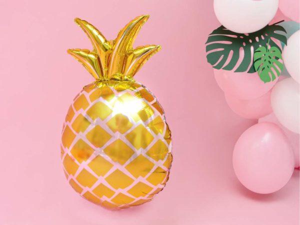 balon złoty ananas, dekoracje na egzotyczne przyjęcia, egzotyczne dekoracje na imprezy, dekoracje Hawaii