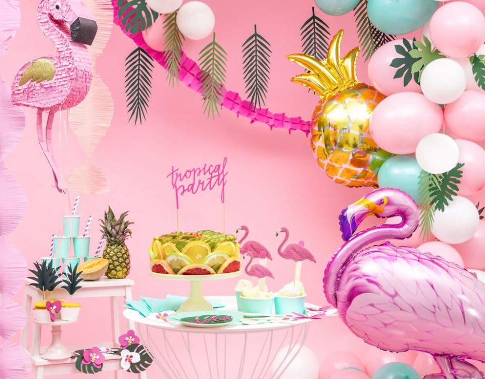 balon złoty ananas, dekoracje na egzotyczne przyjęcia, egzotyczne dekoracje na imprezy, dekoracje Hawaii, dekoracje na tropikalną imprezę