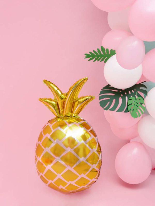 balony Hawaii, balon złoty ananas, dekoracje na egzotyczne przyjęcia, egzotyczne dekoracje na imprezy, dekoracje Hawaii