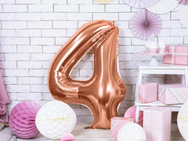 balony na imprezy, balon cyfra 4 golden rose, dekoracje różowe złoto na imprezę, różowo złote balony urodzinowe cyfry, balon cyfra foliowa 4, 86 cm,