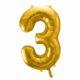 balony na imprezy, dekoracje złote na imprezę, balon cyfra foliowa 3, złote balony urodzinowe cyfry, , złoty balon cyfra 86 cm,