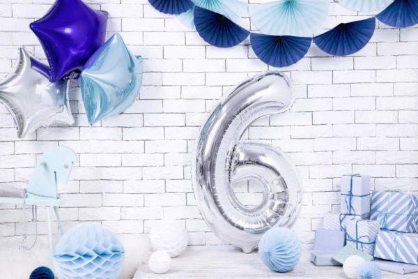 balony na imprezy, srebrny balon cyfra 6, srebrne dekoracje na imprezę, srebrne balony urodzinowe cyfry, balon cyfra foliowa 6, 86 cm,