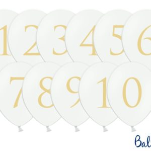 balony okrągłe białe ze złotą cyfrą, balony na imprezę, białe balony na ślub