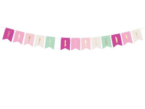 baner happy birthday kolorowy, baner urodzinowy ,baner na urodziny dla dziewczynki, dekoracje urodzinowe, dekoracje na impreze