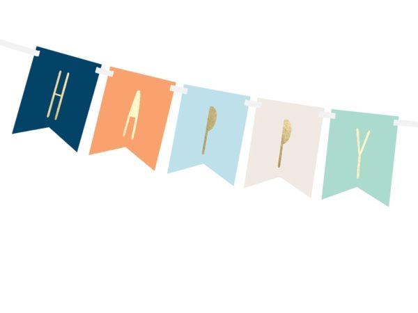 baner happy birthday kolorowy, baner urodzinowy granat, niebieski, pomarańcz ,baner na urodziny dla chłopca, dekoracje urodzinowe, dekoracje na impreze