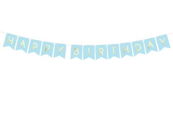 baner happy birthday niebieski, baner urodzinowy , błękitny baner na urodziny, dekoracje urodzinowe, dekoracje na impreze