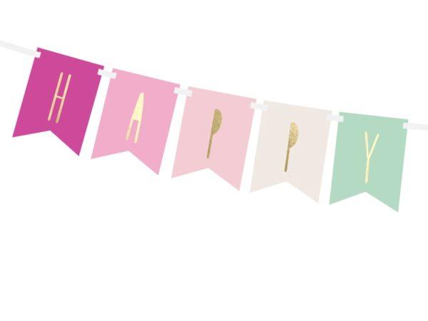 baner happy birthday różowy, baner urodzinowy ,baner na urodziny dla dziewczynki, dekoracje urodzinowe, dekoracje na impreze